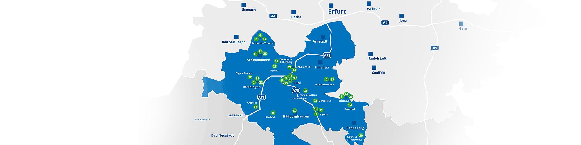 Karte mit den Standorten der teilnehmenden Thüringer Unternehmen bei der Industrie InTouch 2017