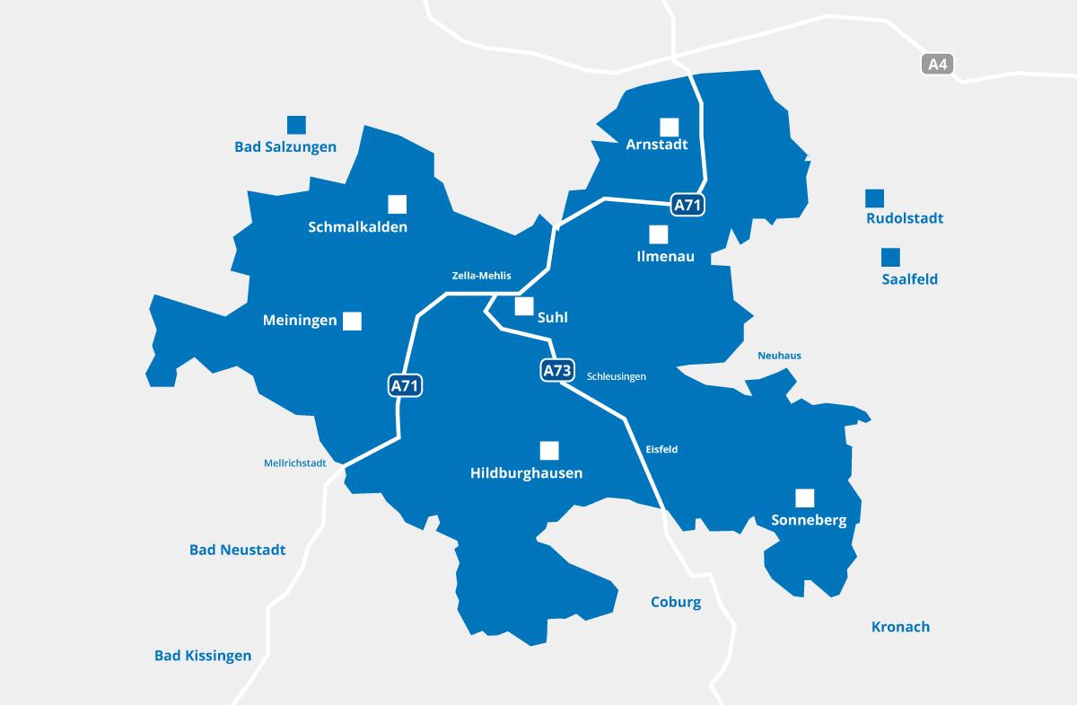 Karte der Industrie-Region Thüringer Wald umrahmt von Arnstadt, Sonneberg, weite Teile südlich von Hildburghausen, Meiningen und Schmalkalden