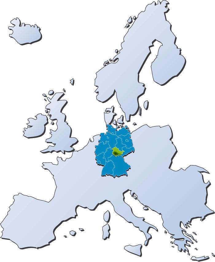 Karte der Region Thüringer Wald mit ihrer Lage in Europa, Deutschland und Thüringen