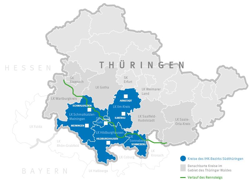 Karte der Industrie- und Wirtschaftsregion Thüringer Wald umrahmt von Arnstadt, Sonneberg, weite Teile südlich von Hildburghausen, Meiningen und Schmalkalden