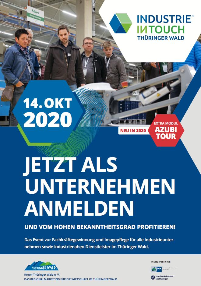 Titelseite Flyer zur Unternehmensakquise für INDUSTRIE INTOUCH Thüringer Wald 2017