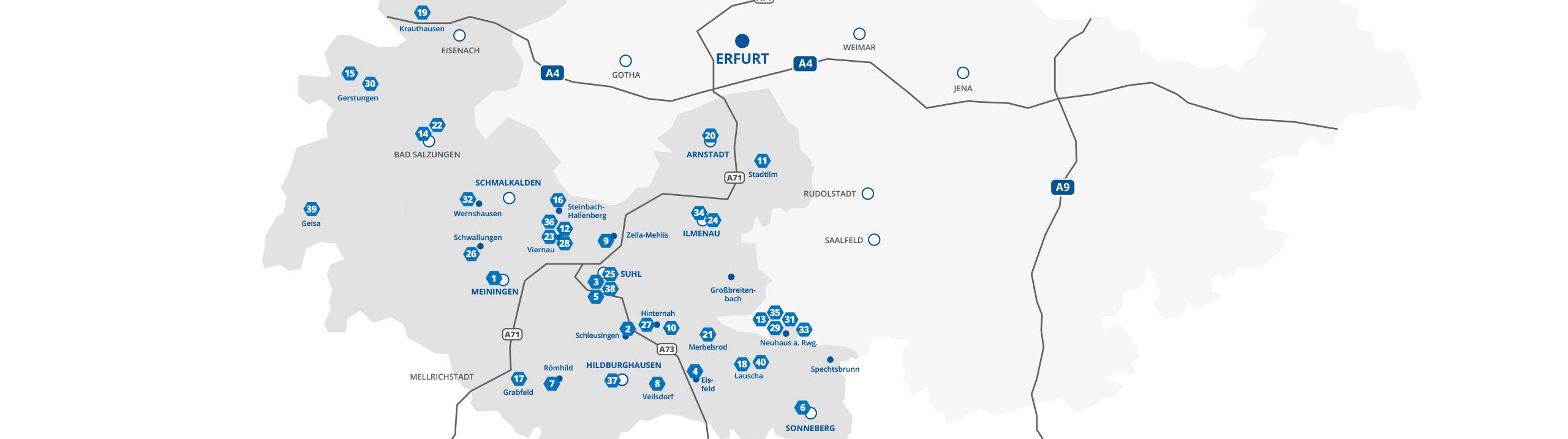 Eine Karte von Südthüringen zeigt die Standorte der Unternehmen, die bei INDUSTRIE INTOUCH 2021 teilnehmen
